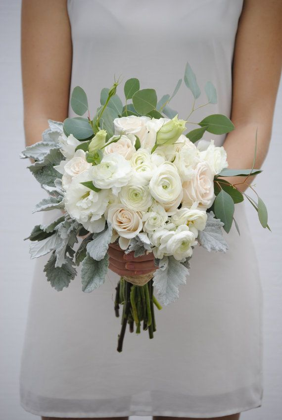 White Wedding Bouquet, Classic Wedding, White Ranunculus, Seeded ...