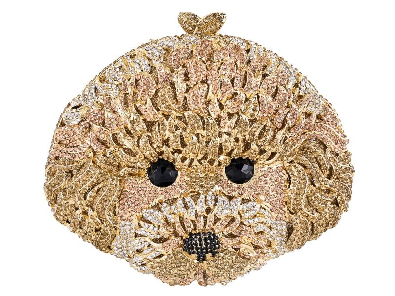 Multi Color Crystal Gold Tone Poodle Clutch OPC405
