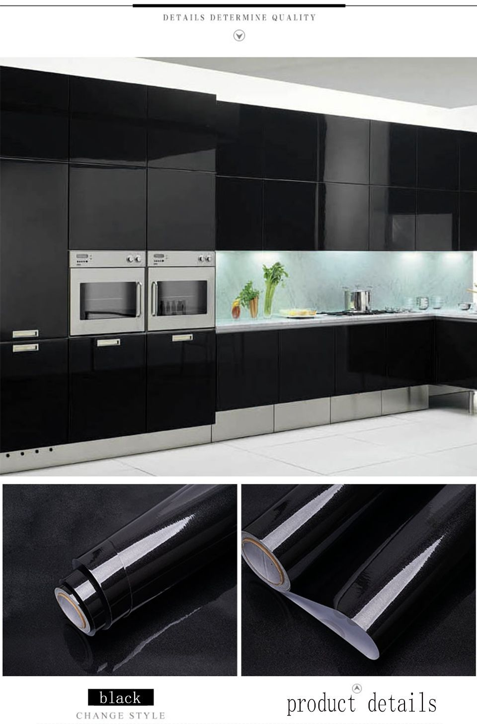 Black Wood Grain Marble Solid Self Adhesive Wallpaper For Kitchen Cabinets Co Wallpaper For Kitchen Cabinets Kitchen Cabinets And Countertops Kitchen Wallpaper