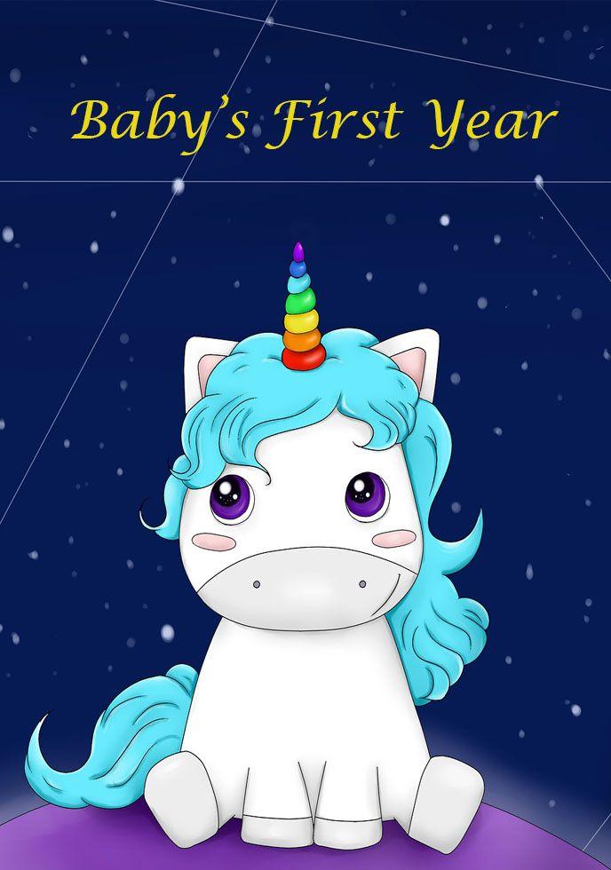 Babys Milestone First Year Journal With Unicorn Digital Custom