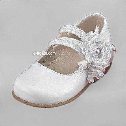 Leather Baby Girl Shoes White Cream Pink Crochet Flower