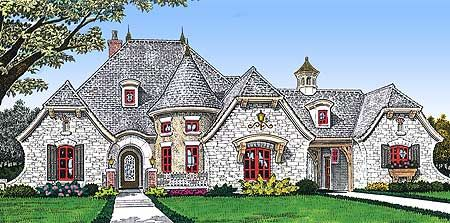 Plan 48326FM: Grand Turret | European house plans, Tray ceilings and ...