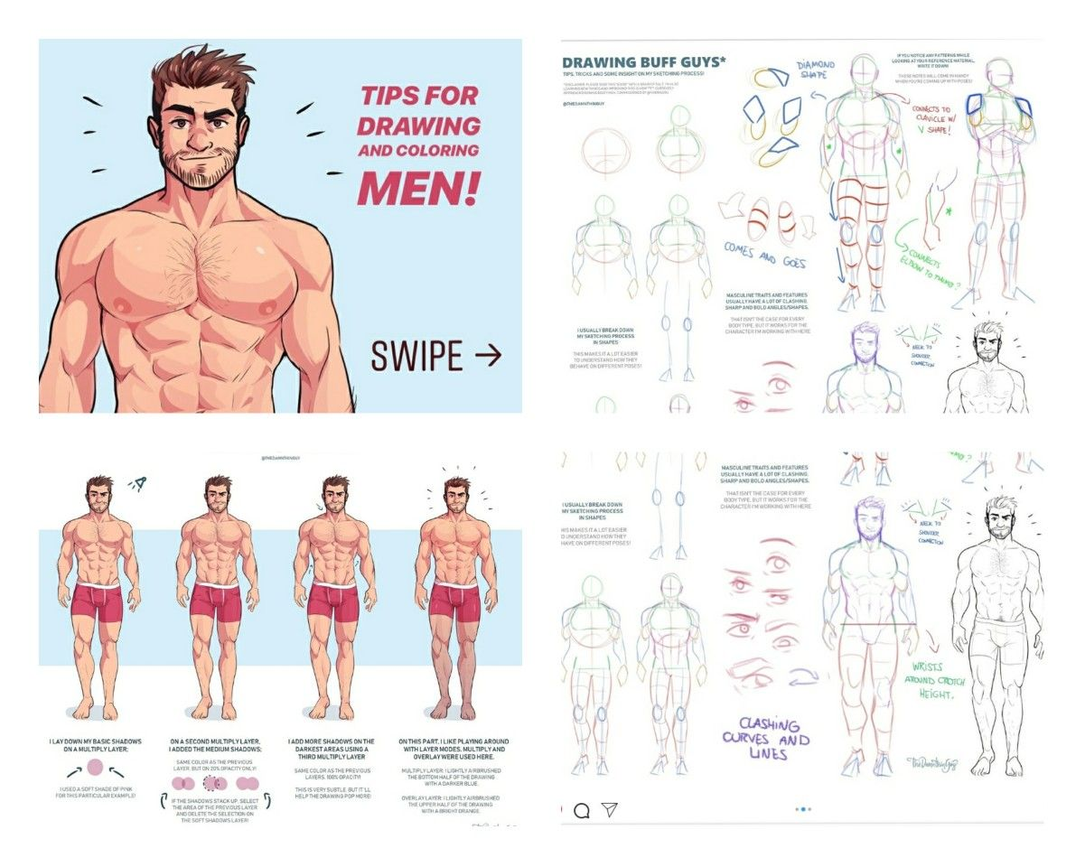 Damnthingguy Tutorial On How To Draw Buff Guys With Images