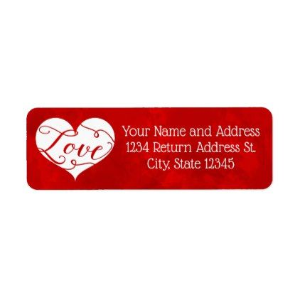 Love Watercolor Red Heart Swirl ValentineS Day Label  Saint