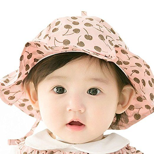 7ff2152931e5f Baby Girls Cherry Sun Protective Hat Fisherman Bucket Hat Wide Brim Suncap