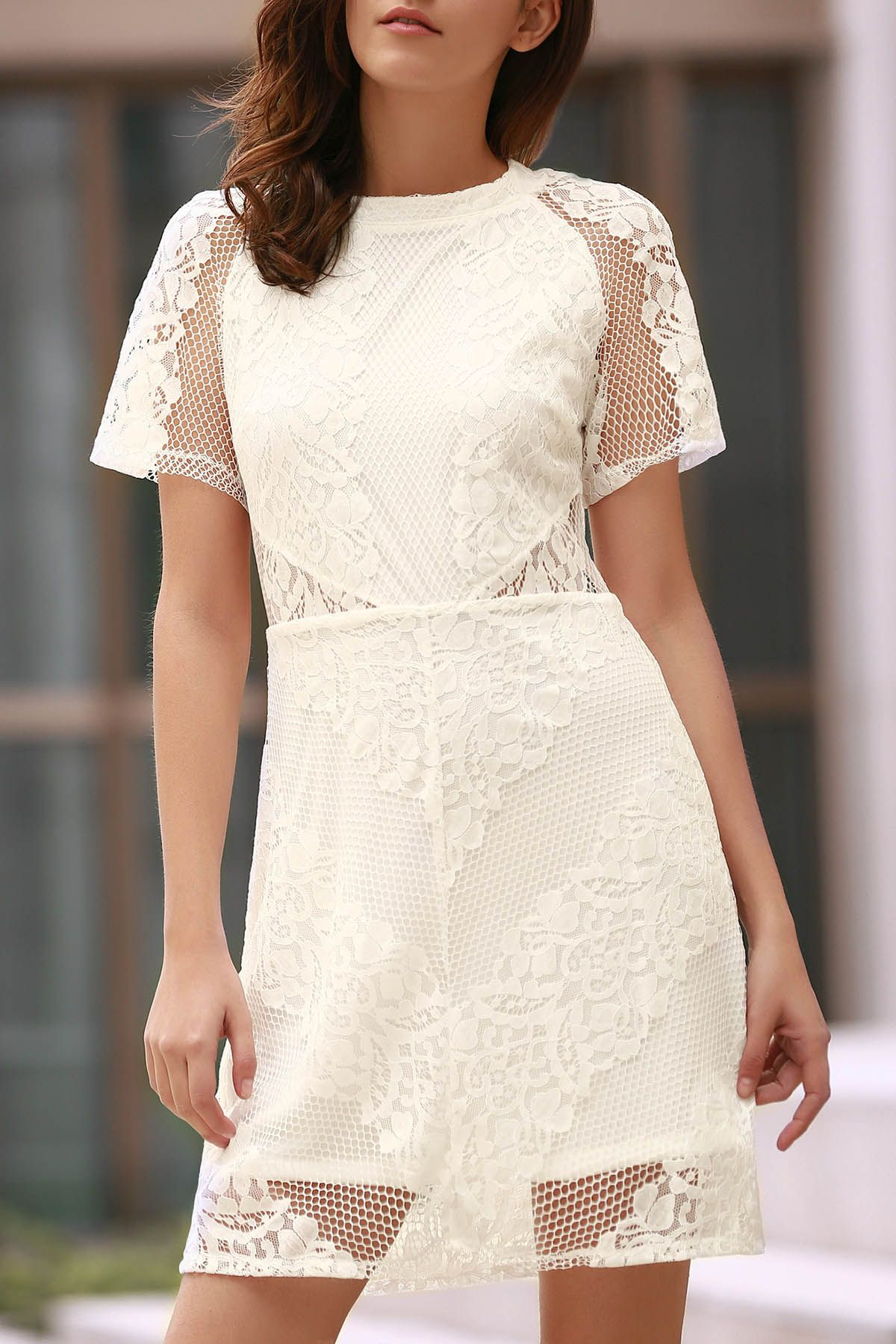 Openwork Lace Hook White Dress #CLICK! #clothing, #shoes, #jewelry, #women, #men, #hats, #watches
