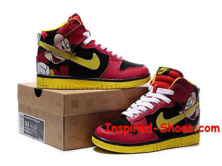 separation shoes 6acb2 d994a ... Mickey Mouse Nikes Dunk High Shoes For Girls Cool High Tops Nikes Dunks  Adidas Converse Cartoon .