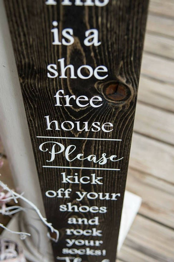 Welcome To Our Home Shoes Off Sign Shabby Rustic Chic Door Socks Rock Sign
