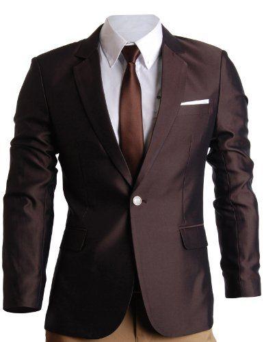 FLATSEVEN Mens Slim Fit Premium Blazer Suit Jacket Wine 0d5c9d69356