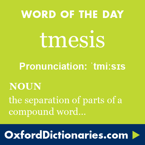 Tmesis Definition Of Tmesis In English From The Oxford Dictionary Intelligent Words Words In Other Languages Cool Words