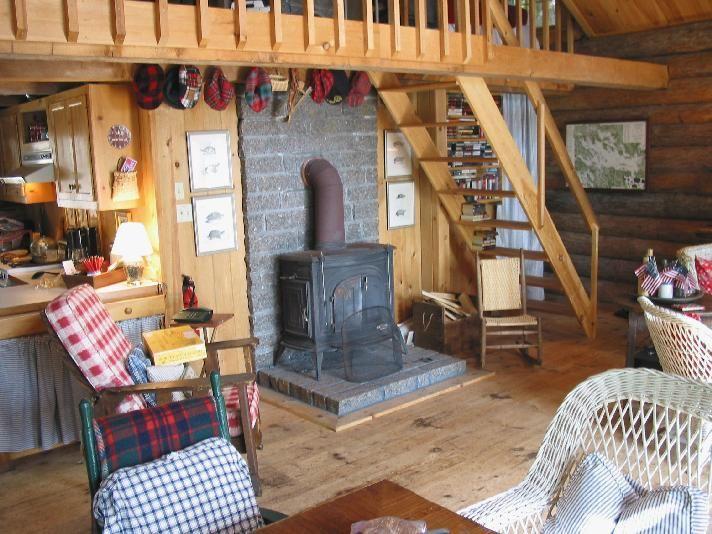 Small Cabin Interiors   Charming Island Waterfront Log Cabin Rental On New  England Lake .