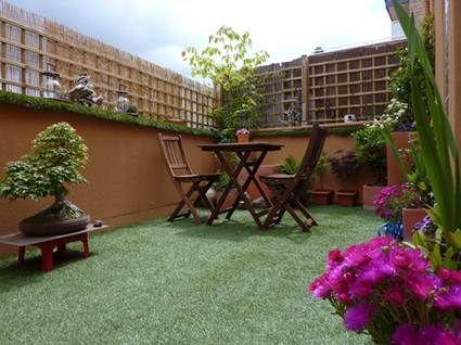 Césped artificial en un balcón o terraza Bamboo fence, Artificial