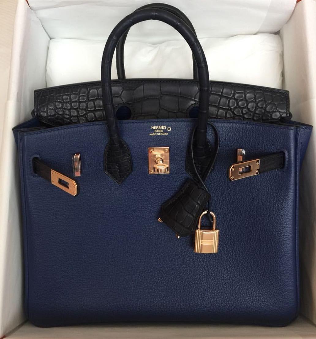 Limited edition Hermès 25cm Birkin Touch in Bleu Saphir and