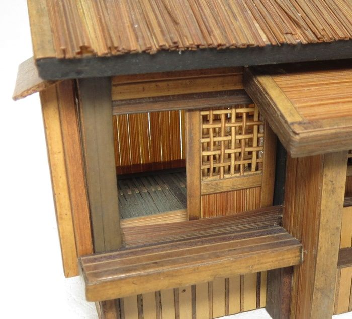 Japanese OLD wooden ware Tasteful miniature tea ceremony house SIZE : Width 3.9 in : Length 3.1 in : Height 3.5 in