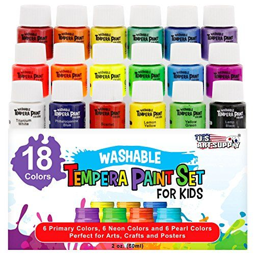 US Art Supply 18 Color Childrens Washable Tempera Paint Set  2 Ounce Wide Mouth Bottle