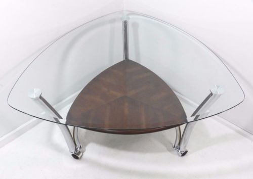 Contemporary Modern Style Chrome Triangular Glass Top Coffee Table On Casters Triangulares
