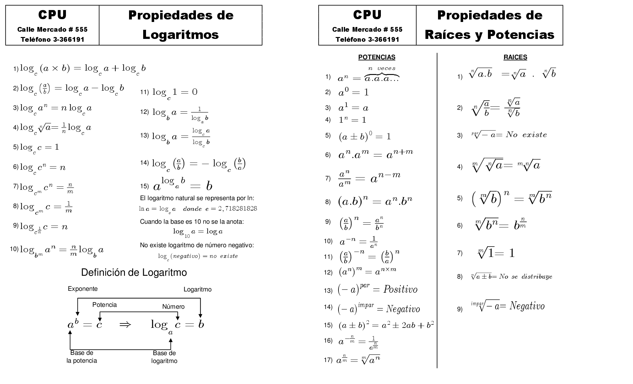 Resultado de imagen de tabla de propiedades logaritmicas   Studying math. Math. Math equations