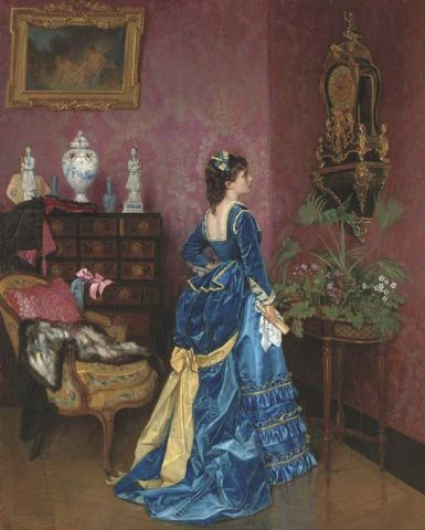 1872. The Blue Dress by Auguste Toulmouche.