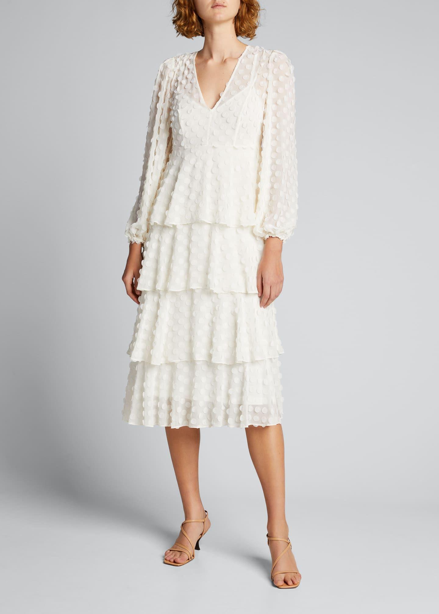 Zimmermann Textured Dot Tiered Midi Dress Bergdorf Goodman In 2021 Tiered Midi Dress Dresses Midi Dress [ 2016 x 1440 Pixel ]