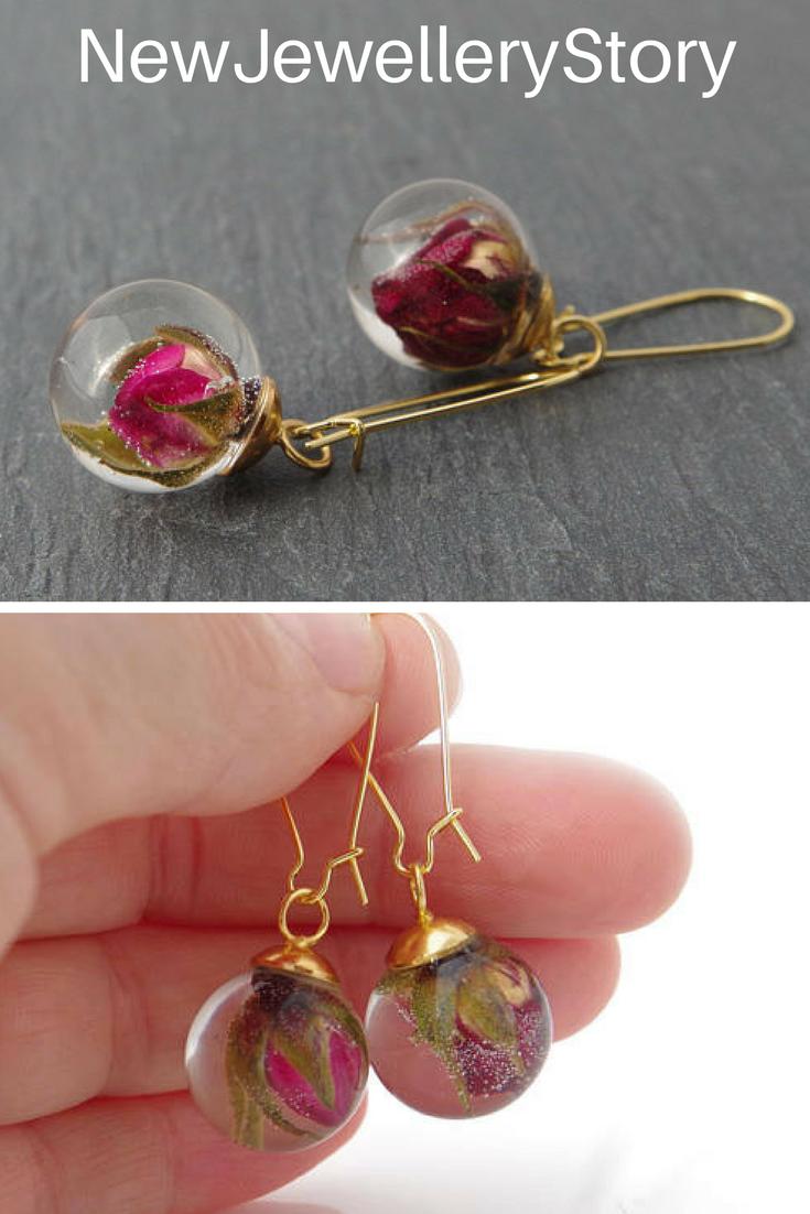 Rose Bud Earrings Real Flower Christmas Gift For Her Fl Jewelry Resin Terrarium