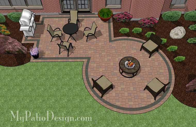Rectangle patio design with circle fire pit area for Small patio design plans