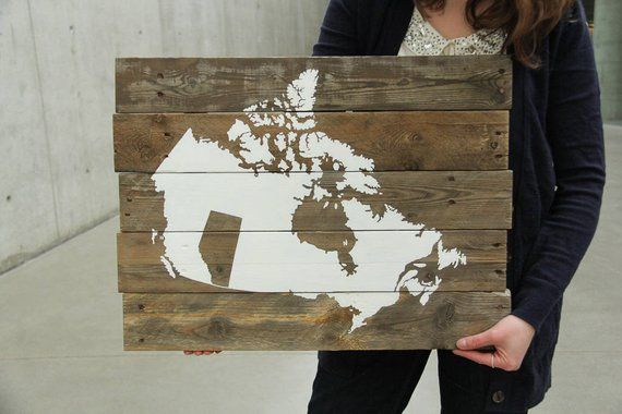 Made in Alberta, Canada Map Reclaimed Pallet Wood Sign ...