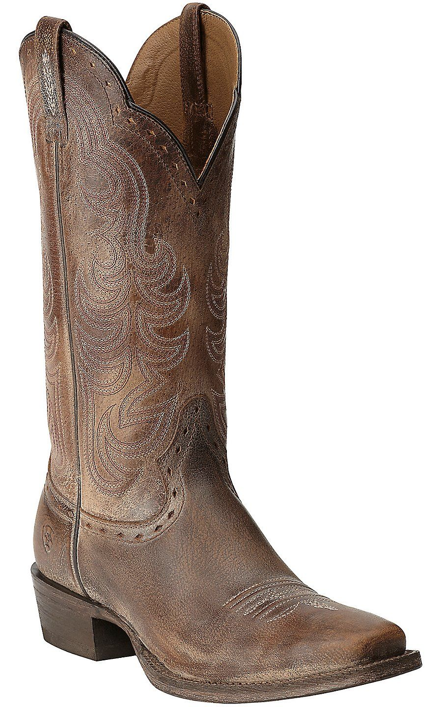 Ariat Women's Good Times Antique Brown Punchy Square Toe Western Boots |  Cavender's