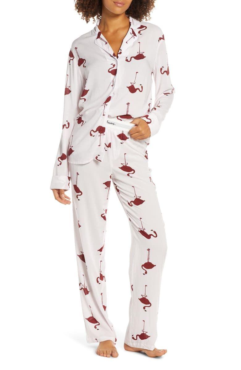 Pajama Set Bohemian Pajama Organic Cotton Pajama Sleepwear Wide Leg Pants Two Piece Pajama Organic Sleepwear