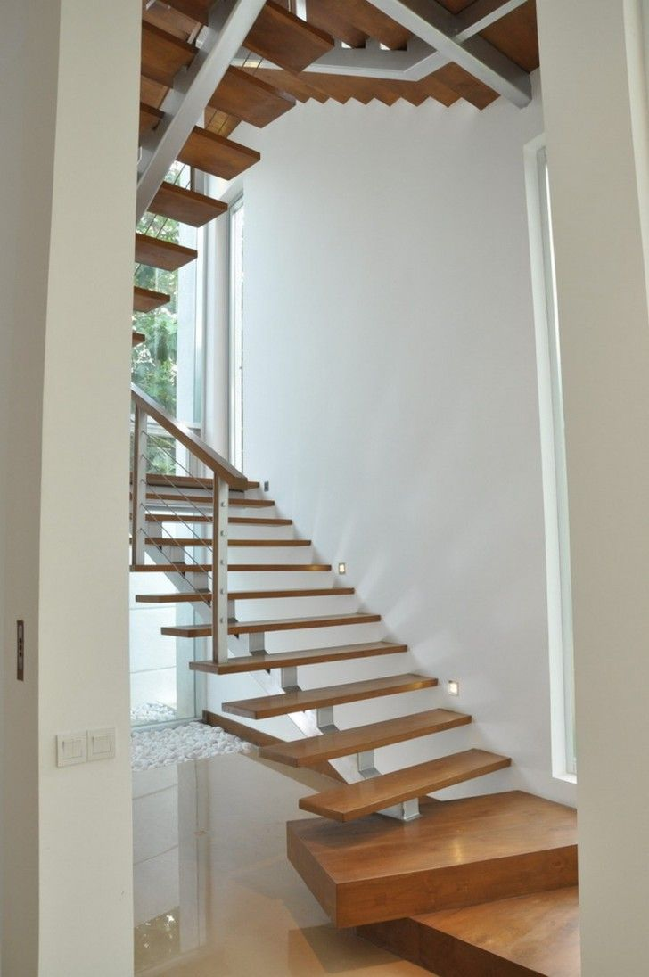 Cool Modern Simple Wooden House Designs To Be Inspired By: Fascinating Home Design For Modern Family: Unique Staircase Design In Modern Residence Home Made