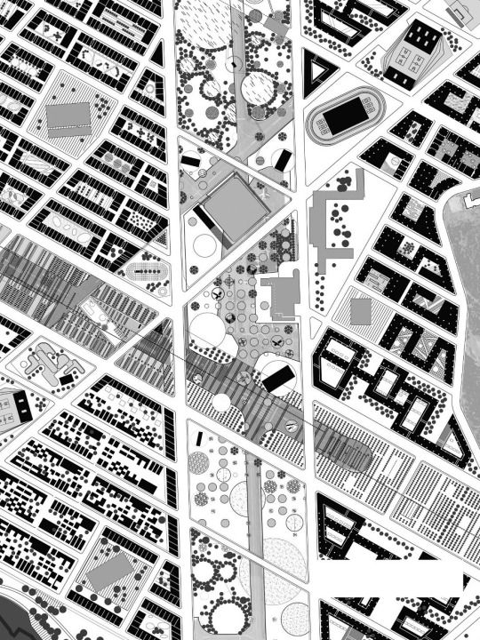 "This proposal identifies exterior space as equally charged with activity, use and event as built or interior spaces within the city. The figure of the runway is used to identify three primary axes, and each is converted into a ""greenway"" that uses a quality of the city as its primary trait: namely, ecology, recreation, and production. — Lateral Office 