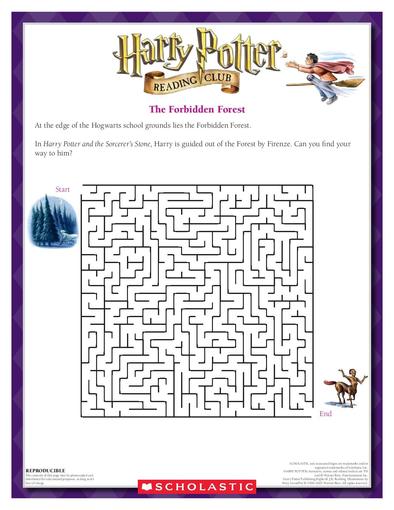worksheet Harry Potter Printable Worksheets the forbidden forest maze can you navigate your way out of harry potter