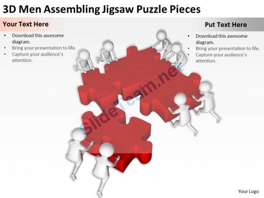 3D Men Assembling Jigsaw Puzzle Pieces Ppt Graphics Icons Powerpoint Templates Infographics