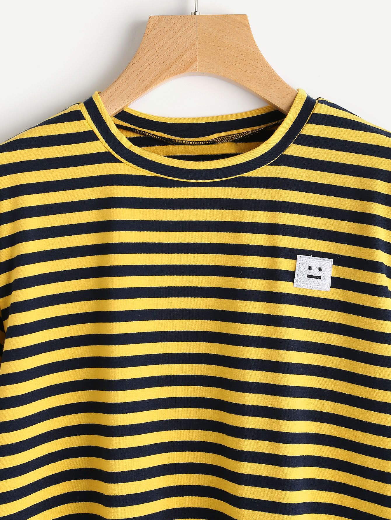 4bb03aeb46 Bee Stripe Emoji Patch Tshirt | Clothing | Patch tshirt, Yellow ...