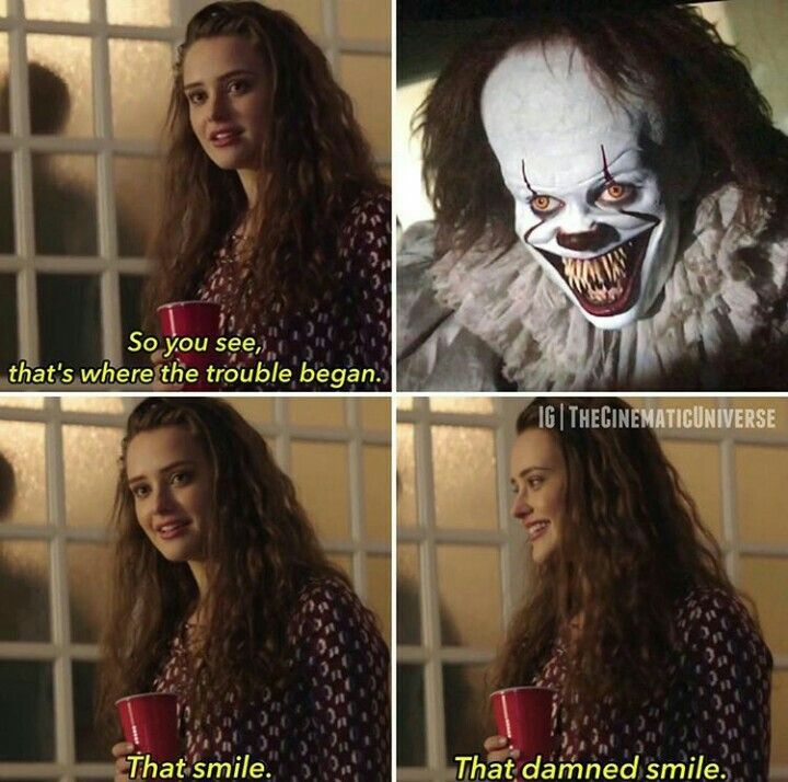 8bc13bfdb8a14b0544c4724f9eecda5f that damned smile it pinterest 13 reasons, memes and horror