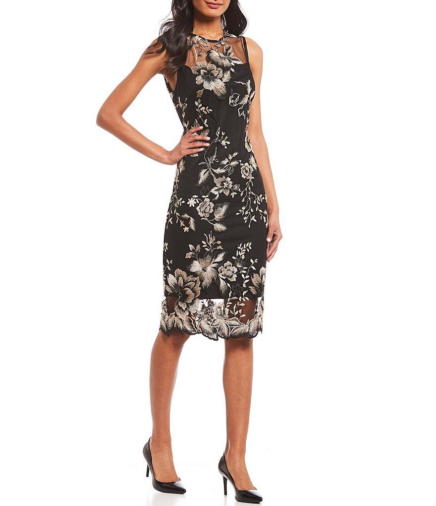 34188323d7f Calvin Klein Illusion Yoke Floral Embroidered Sheath Dress in 2019 ...