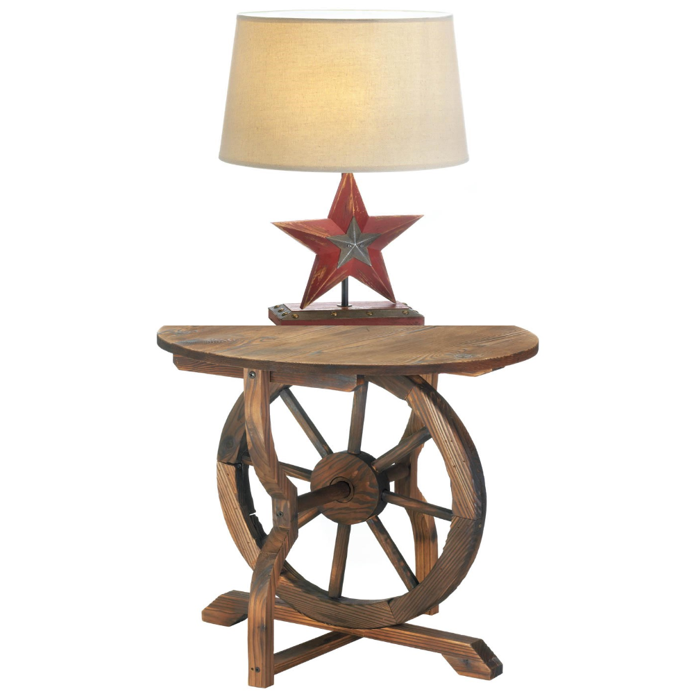 Country Cabin Decor Rustic Wagon Wheel Side Accent Table