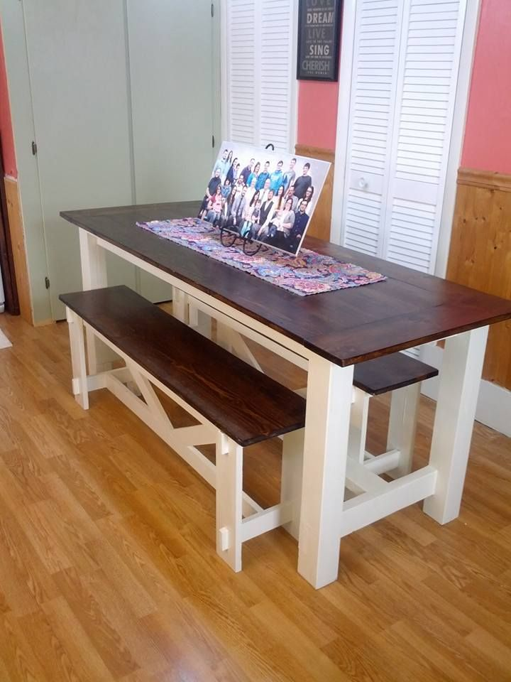 Farmhouse table rustic xbenches do it yourself home