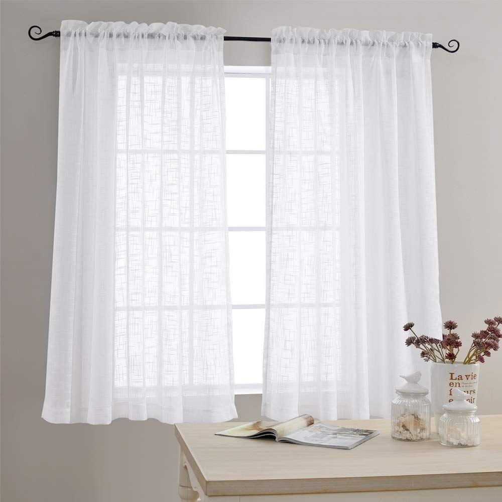 Amazon Com Linen Textured Sheer Window Curtains For Bedroom 63