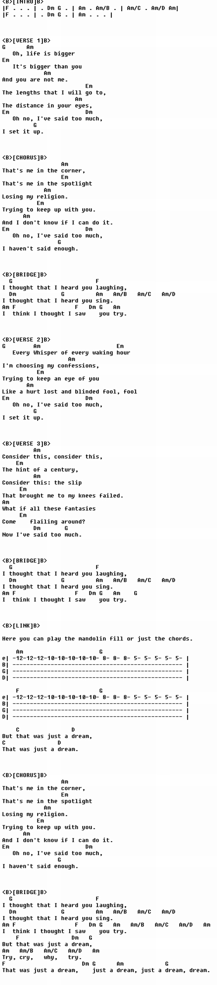 Rem Losing My Religion Guitar Chords Pinterest Religion