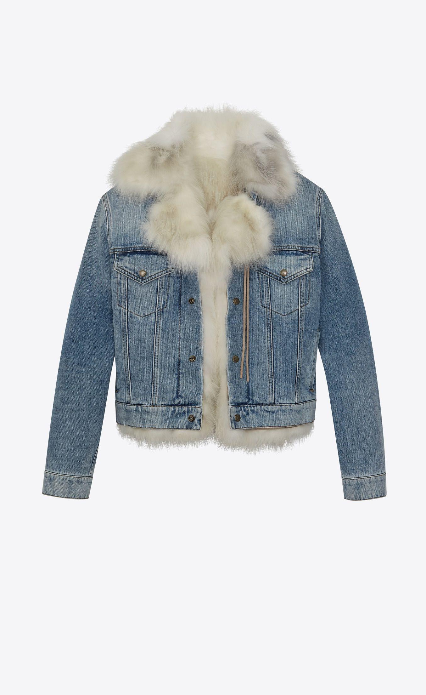 18ccc153ec6 Fur lined denim jacket in 2019 | Yves Saint Laurent | Fur lined ...
