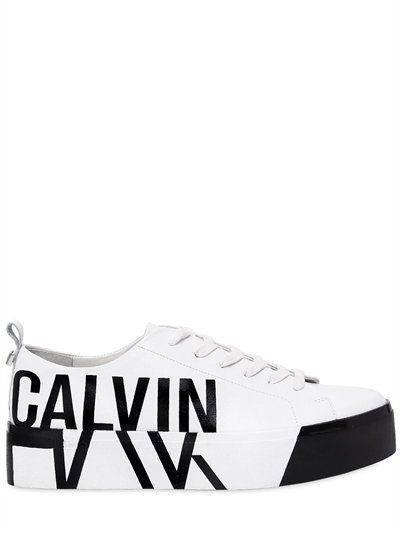 promo code e808a 53605 CALVIN KLEIN 40Mm Jayda Printed Logo Leather Sneakers, White/Black.  #calvinklein #shoes #sneakers