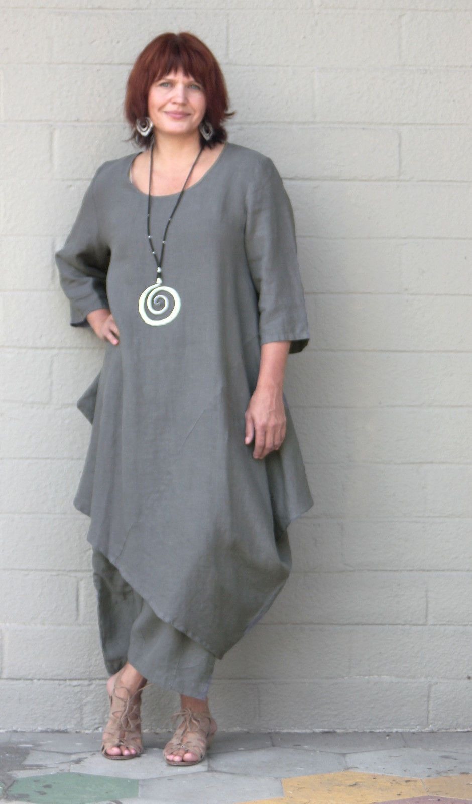 Unique BRYN WALKER Light Linen NAIDA TUNIC Lagenlook Asymmetric Dress  DD46