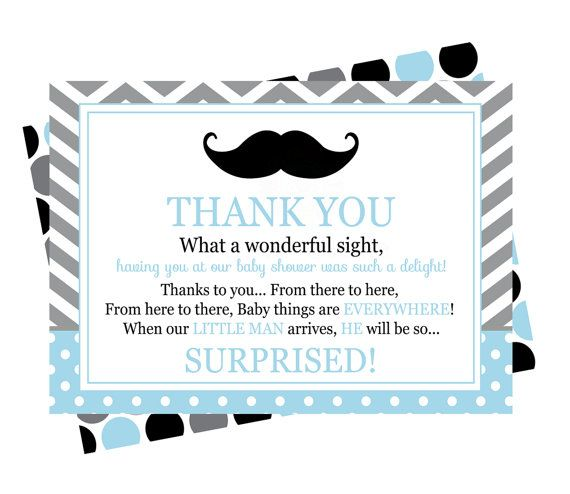 Mustache Baby Shower Thank You Cards by PaperCleverParty on Etsy - baby shower thank you notes