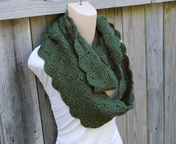 Crochet Pattern Infinity Scarf In Scalloped Pattern Pdf Crafts