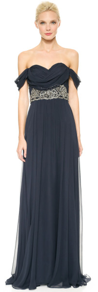 Notte By Marchesa Draped Chiffon Gown Midnight in Blue (Midnight) - Lyst          jaglady