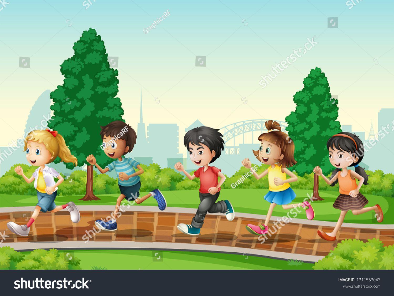 Children Running In Urban Park Illustration Ad Affiliate Running Children Urban Illustration Running Art Royalty Free Urban Park