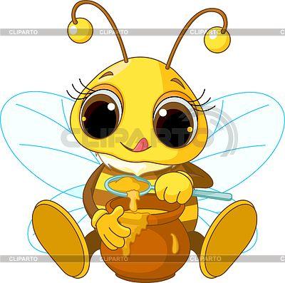 Милая пчелка ест мед   Векторный клипарт   ID 3267683