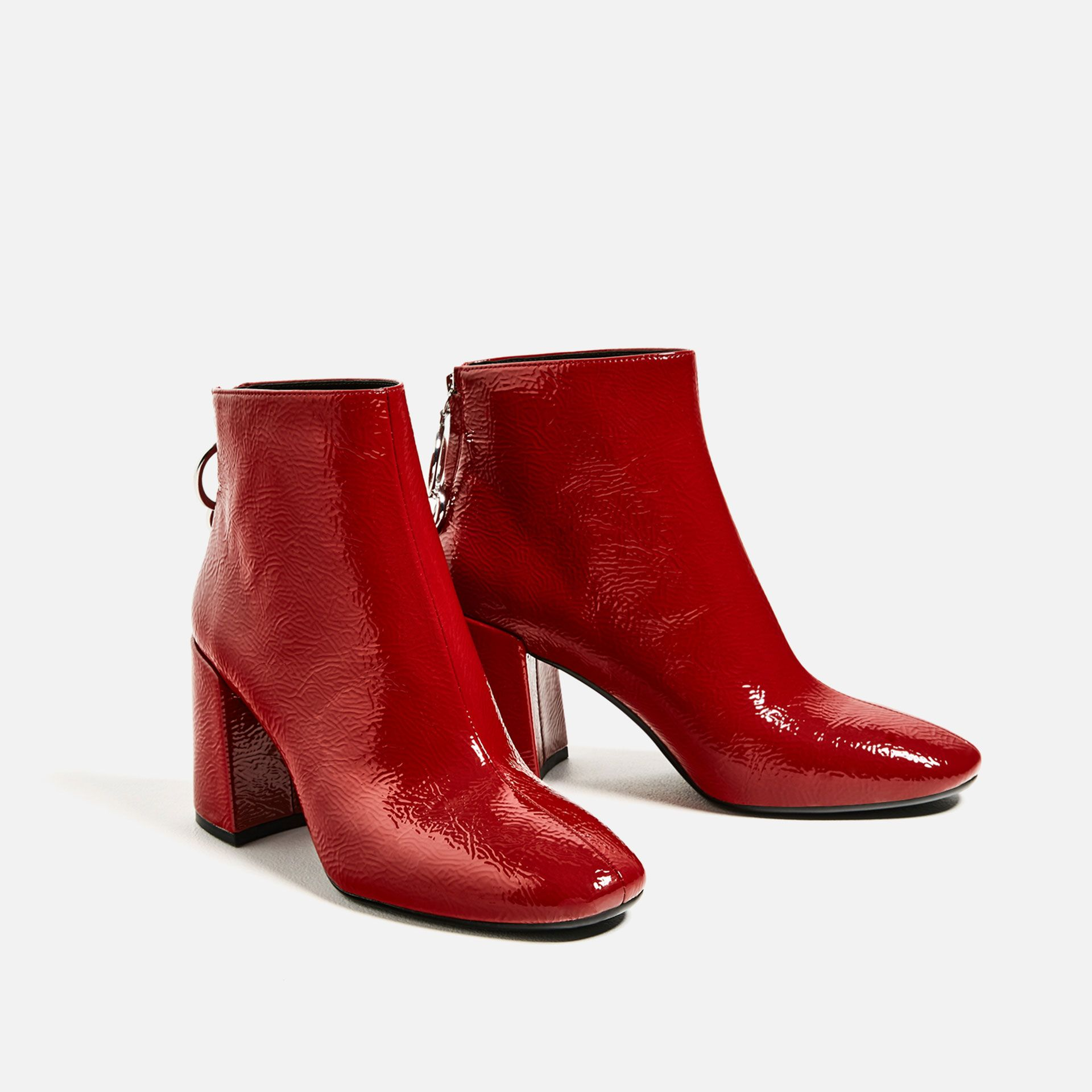 Add some vibrant code red hue to your autumn wardrobe with these  eye-catching ankle boots — featuring a block heel, zip fastening at the  back with metallic ...