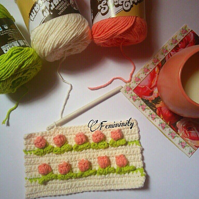 كروشيهات هند ميـ ان شرح غرزة التوليب كروشيه Crochet Rose Crochet Fabric Crochet Patterns