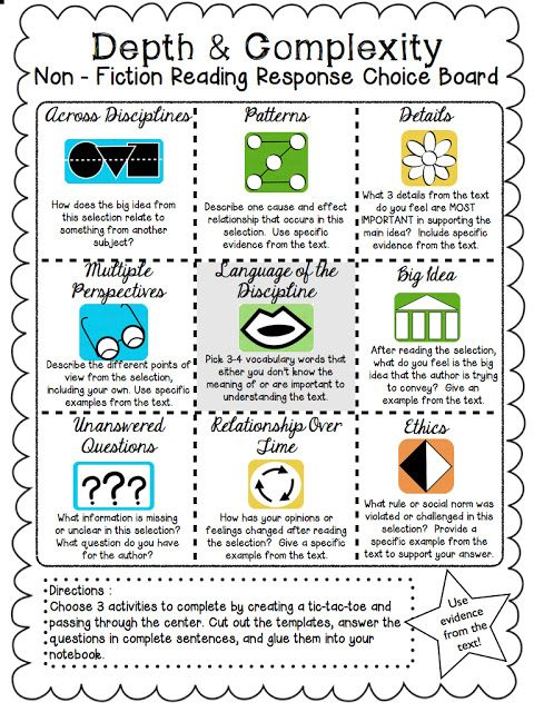 The Curious Apple Non-Fiction Reading Response Choice Board - sample tic tac toe template